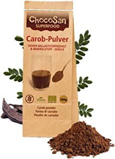 Carobpulver BIO 200g, Johannisbrot gemahlen, fettarmer Kakao-Ersatz, kalorienarme Alternative zu Schokolade, 31% ! Ballaststoffe, vegan, schonend getrocknet, plastikfrei abgepackt