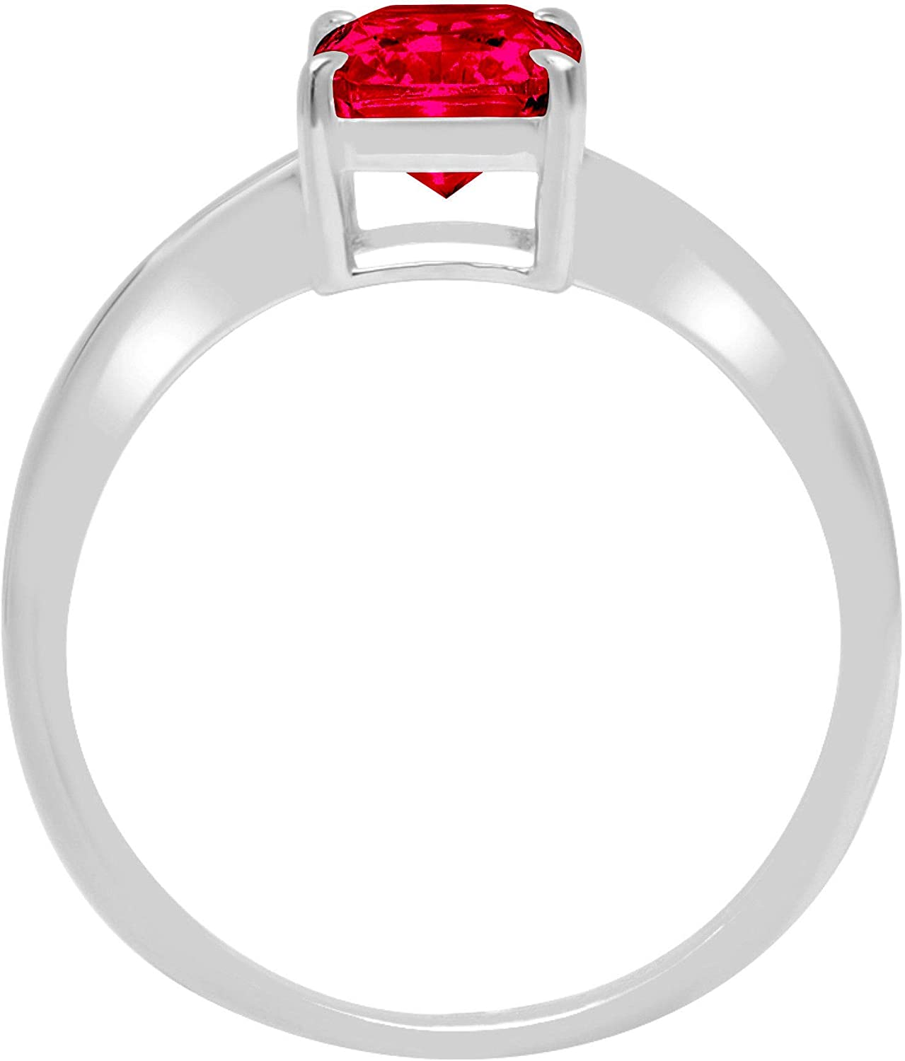 1.05 ct Brilliant Radiant Cut Solitaire Flawless Genuine Pink Tourmaline 4-Prong Stunning Classic Statement Designer Ring Solid 14k White Gold for Women