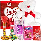 Valentines Day Gift Basket Set | Teddy Bear Plush, Lindt Lindor Milk Truffles, Hershey Reeses Pieces, Ghirardelli Caramel Chocolate, Tootsie Roll Candy, M&M Minis Tube & V-Day Gift Bag (Love)