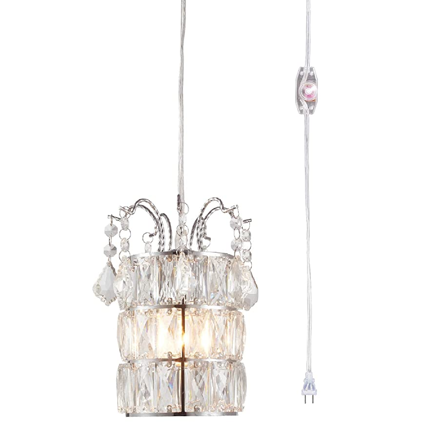 Creatgeek Crystal Pendant Light,Plug in Mini Chandeliers-On/Off Dimmer Switch,Clear 16.4'(Ft) Cord,Chrome Finish Modern Lighting Fixture for Kitchen Island Dining Room Bedroom Hallway