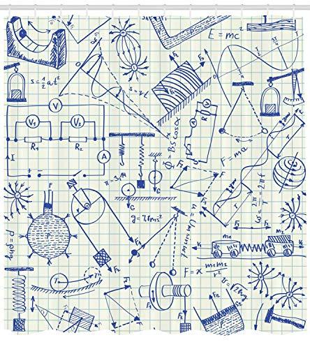 AdaCrazy Schule unter dem Motto technische Formel & Zeichnungen auf quadratischen Notebook Papier Hintergr& Physik Duschvorhang Stoff Badezimmer Dekor Set mit Haken 71 Zoll Elfenbein Indigo