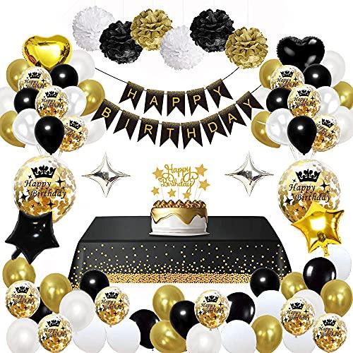 MMTX Decorazioni per Feste di Buon Compleanno in Oro Nero, Palloncini per Compleanno, Pom Pom di Carta, Palloncini in Lamina d'oro per Uomini e Donne, Decorazioni per Feste per Adulti (47 Pezzi)