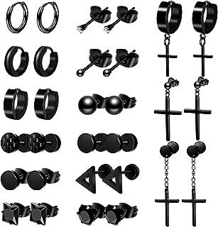 ONESING 15 Pairs Earrings for Men Black Stud Earrings Mens Earrings Stainless Steel Stud Earrings Set for Men Women Jewelry Piercing Hoop Earrings