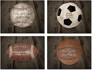Kreative Arts Inspirational Sports Quotes Prints Wall Art Canvas Set of 4 Vintage Posters Stretched Baseball Ball Basketball Soccer Football Photos Great Gift for Boy's Room Decor Ready to Hang