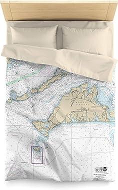 "Martha's Vineyard and Buzzards Bay Nautical Chart Microfiber Duvet Cover, Queen - 88"" x 88"""