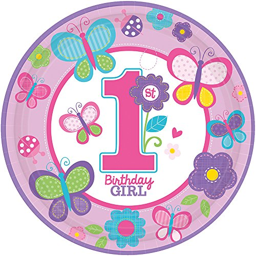 amscan Sweet Girl First Birthday Papier Assiettes