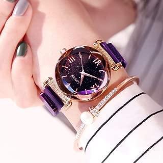 FSWH LT Women's Watch, Star Magnet Magnet Watch Waterproof Watch Star Watch Diamond Watch Personality Fashion Watch Cut Dial Sky Star Knit Strap Bracelet Student Watch,Purple