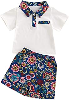 Weixinbuy Kids Baby Girls Short Sleeve Lapel T-Shirt Tops + Floral Shorts Clothes Set 1-5 Years