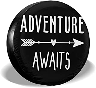 Adventure Awaits Arrow Dust-Proof Waterproof Tire Cover Spare Wheel Tire Cover Fit for Jeep,Trailer, RV, SUV and Many Vehicle