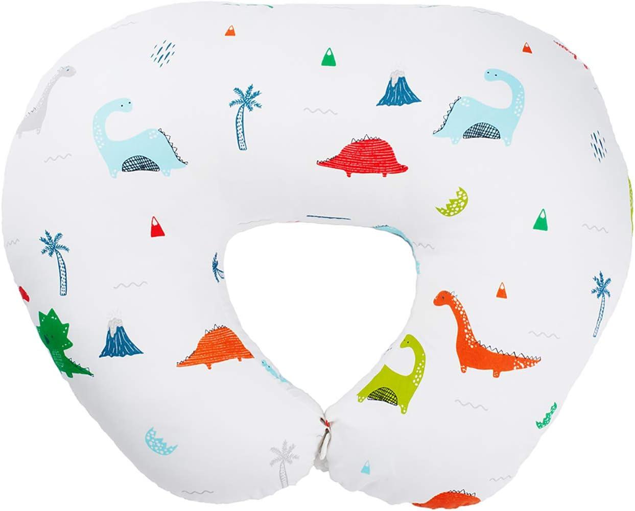 BESTLA Breatsfeeding Pillow and Positioner, Cute Dinosaur Design Nursing Pillow Widened Feeding Support Platform Design 100% Cotton Fabric