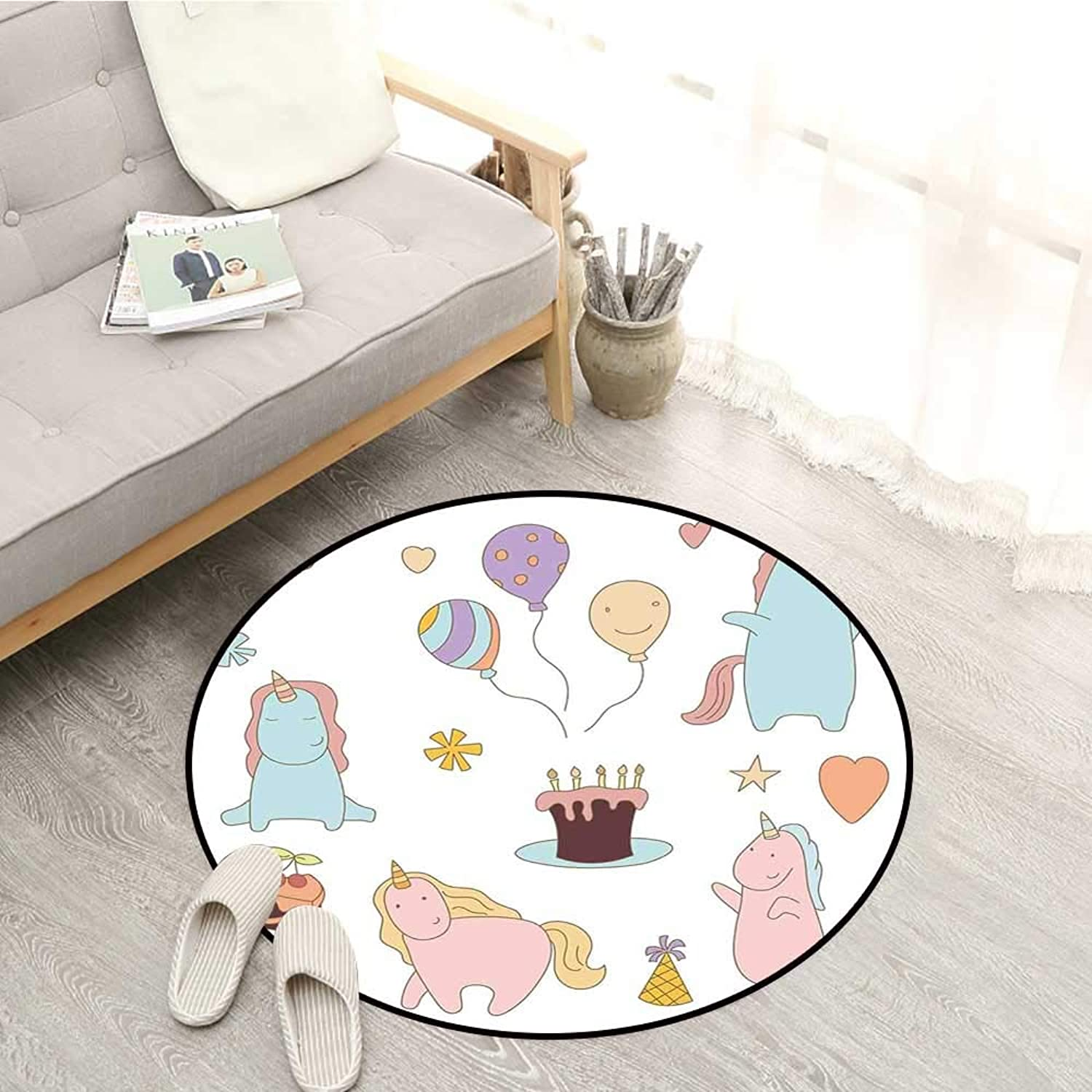 Unicorn Party Kids Rugs Nursery Style colorful Doodle Animals with Birthday Cake and Balloons Pattern Sofa Coffee Table Mat 4'11  Multicolor