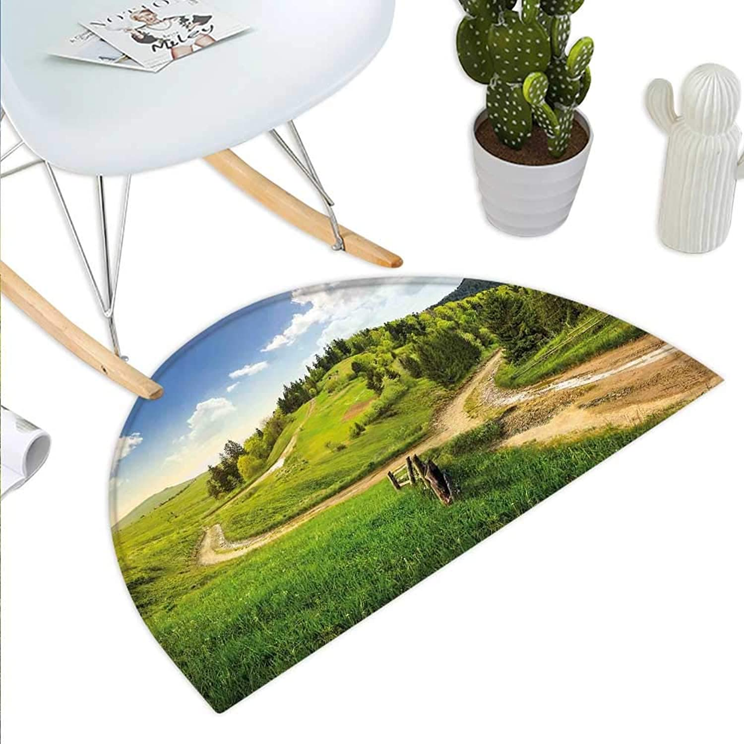 Landscape Semicircle Doormat Hillside Meadows Cloudy Sky Fence Near The Road with Fir Trees on Both Sides Halfmoon doormats H 39.3  xD 59  Green bluee