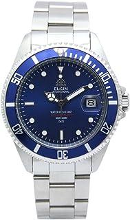 [エルジン]ELGIN 腕時計 200M防水 オートマ 日本製ムーブメント 逆回転防止ベゼル オールステンレス ブルー×シルバー FK1405S-BL メンズ