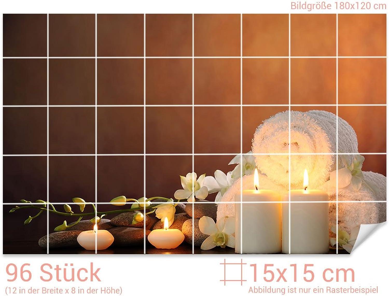 Graz Design 761652_15x15_120 Fliesenaufkleber Wellness - Set Set Set für Kacheln   Bad-Fliesen mit Fliesenbildern überkleben (Fliesenmaß  15x15cm (BxH)  Bild  180x120cm (BxH)) B07CRYHFVT fa160f