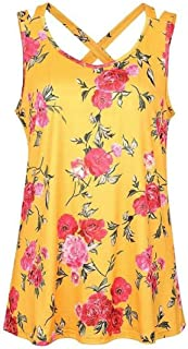 Domple Women's Sleeveless V-Neck Loose Casual Floral Print Tank Tops Blouse Shirts