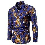 Camisas de Vestir para Hombre Camisas Casuales de Manga Larga con Estampado Funky y Elegantes Tops Florales con Botones de patrón único 4XL