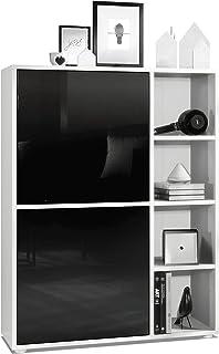 Armario aparador Cuba con 8 Compartimentos Cuerpo en Blanco Matefrentes en Negro de Alto Brillo