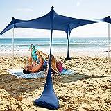 SUN NINJA - Tenda da spiaggia pop-up UPF50+, con pala di sabbia, picchetti e pali di stabilità, per campeggio, pesca, divertimento in cortile o picnic (225 cm x 210 cm, 4 aste, blu navy)