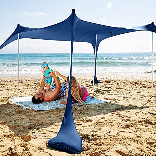 Sun Ninja tienda de playa plegable UPF50+ con pala de arena, clavijas de tierra y postes de estabilidad, sombra al aire libre para viajes de camping, pesca, diversión en el patio trasero o picnics