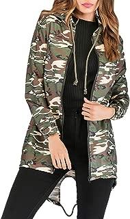 Womens Camo Windbreaker Jacket with Hood Lightweight Long Sleeve Trench Coats Versatile Military Safari Utility Anorak Street Fashion Outerwear