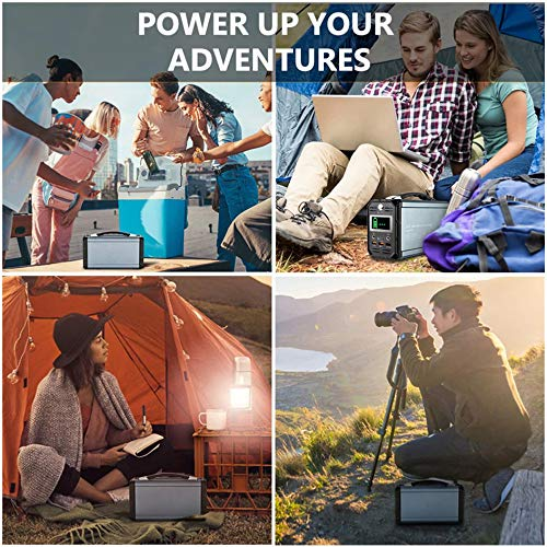 300W Solar Generator, FlashFish 60000mAh Portable Power Station Camping Potable Generator, CPAP Battery Recharged by Solar Panel/Wall Outlet/Car, 110V AC Out/DC 12V /QC USB Ports for CPAP Camp Travel