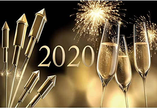 10x8ft Hamburg Happy New Year Photo Booth Backdrop Sparkle Fireworks Turn The Year of 2018 2019 Festival Party Events Family Gathering Photogrgaphy Background Photo Studio Props