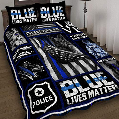 GEEMBI Quilt Bedding Set-Thin Blue Line - Police Dog Quilt Bed Set TRL149QS1, King Size Coverlet for All Season-Soft Microfiber Bedspread+Pillows-Quilts Gifts (King,Queen,Twin)