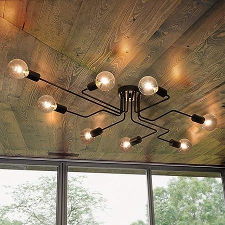 Lingkai Industrial Ceiling Light Vintage Chandelier Metal Pendant Light Creative Retro 8-Light Chandelier Lighting Fixture (Black)