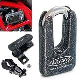 Artago 69T5 Pack Candado Antirrobo Disco Alta Seguridad + Soporte para Ducati Monster Diavel, Homologado Sra, Sold Secure Gold, ART4, Metálico