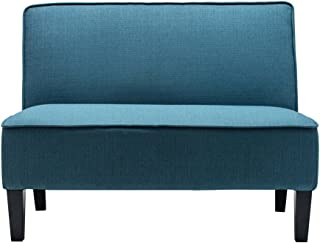 Cushioned Linen Armless Settee Loveseat Sofa Couch Home Casual Living Room Recliner (Blue)
