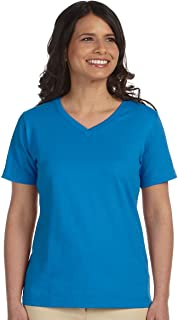 Bodek And Rhodes 62267553 3587 LA T Ladies Combed Ring-Spun Jersey V-Neck T-Shirt Cobalt - Small