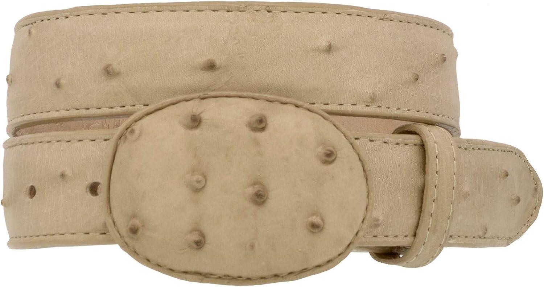 Kids Cowboy Western Belt Sand Ostrich Pattern Leather Round Buckle 20