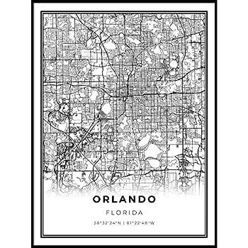 Skanndi Orlando Map Print Florida FL USA Map Art Poster Modern Wall Art Street Map Artwork 16x20