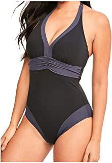 1e2a8f5c4d Figleaves Womens Edge Plunge Neck Colourblock Padded Tummy Control Shaping  Swimsuit