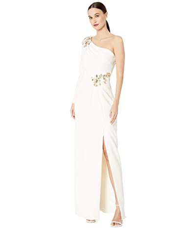 Marchesa Notte One-Shoulder Long Sleeve Stretch Crepe Gown with Side Slit and Beaded Detailing At Shoulder and Waist (Ivory) Women