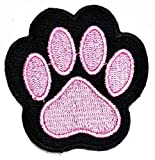 PARITA Animal Paw Foot Print Cute Black Pink Embroidered Patches Cartoon Character Kids Embroidery Patch Logo Jacket Polo T-Shirt Hat Bag Craft Decorative Repair