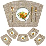 Kreatur Woven Vinyl Placemats for Dining Table Durable Heat Resistant Washable Wedge Placemats for Round Table,Placemats Set of 6,Gold