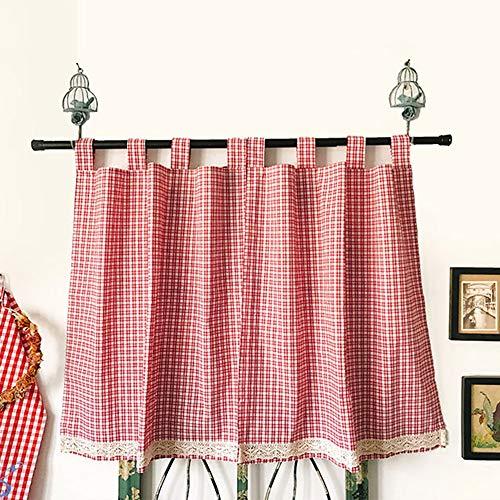 MANG Demi Rideau Brise-bise Petit Rideau Style Country Américain Rideau Court Plaid Rouge Décoratif Rideau De Cuisine