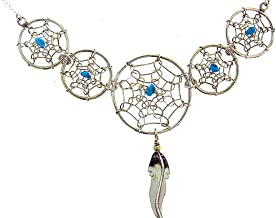 By Artist:Lorenzo Arviso: Beautiful! Sterling-silver Navajo Dream Catcher Turquoise necklaces-pendant