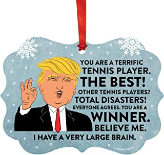 Andaz Press President Donald Trump Fancy Frame Keepsake Christmas Ornament Gag Gift, Terrific Tennis Player, 1-Pack, Funny Metal Holiday Present Ideas Republican Political Satire for Family