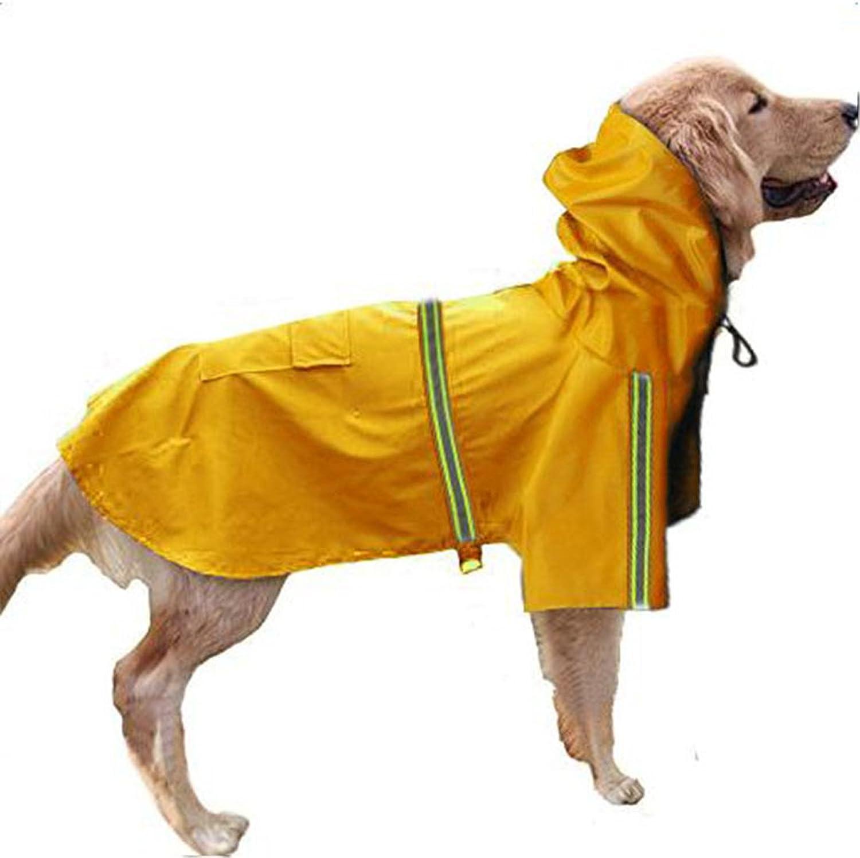 GabeFish Dog Reflective Waterproof Raincoats Pets Puppy Cats Plain Jacket Poncho Rainwear with Hood Yellow 5XLarge