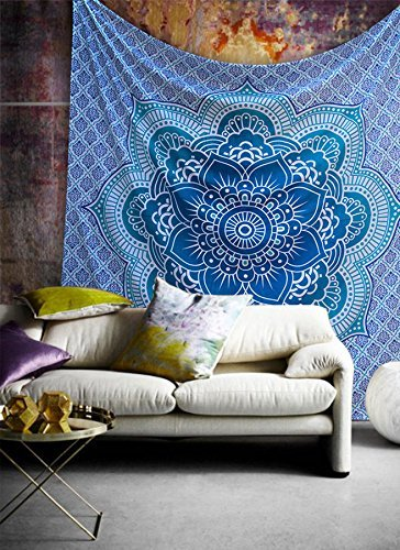Popular Handicrafts Popular Twin Blue Flower Ombre Hippie Mandala Bohemian Psychedelic Intricate Floral Design Indian Bedspread Magical Thinking Tapestry 54x82 Inches,(140x210cms)