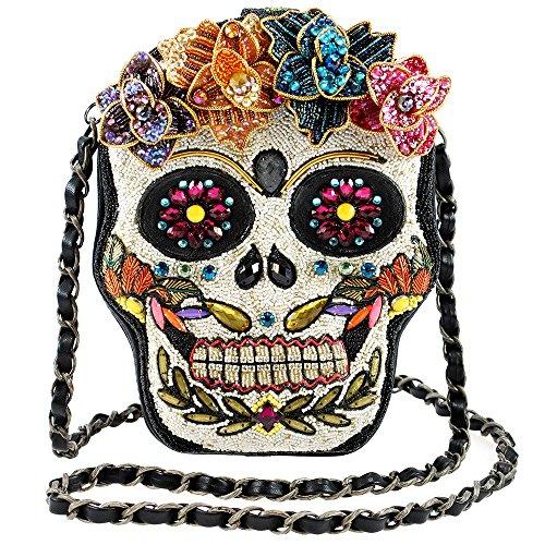 Mary Frances Accessories – Crossbody Handbag – Sugar Rush Beaded Sugar Skull Purse for Women – Vegan Leather – 6 in. x 2 in. x 8 in.…