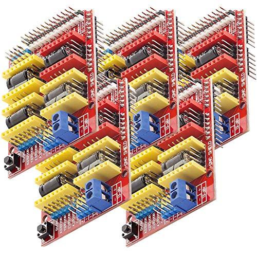 AZDelivery 5 x CNC Shield V3 Placa de Desarrollo para Motor Paso a Paso A4988 Controlador Stepper para impresoras 3D Compatible con Arduino con E-Book Incluido!