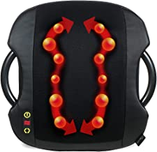 Shiatsu Massage Cushion with Heat | Lumbar Support Back Massage | Portable Handles for Home or Office | Black
