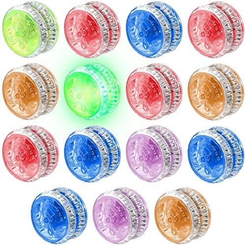 Kasyat 15 Piezas Juguetes con Luz LED para Principiantes Rodamiento de Bolas Sensible para Fiesta de Cumpleaños Relleno de Bolsa de Regalo Premio de Clase, Colores Aleatorios