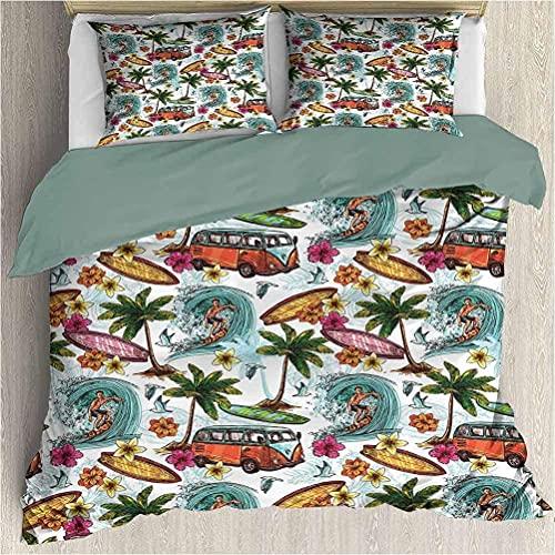 Bdppood Funda de edredón Ocean Kids juegos de cama Twin Palm Tree Leaves on Golden Tropical Sand Beach Decor Sea Landscape Impresión Gráfica Crema Azul Marino Verde
