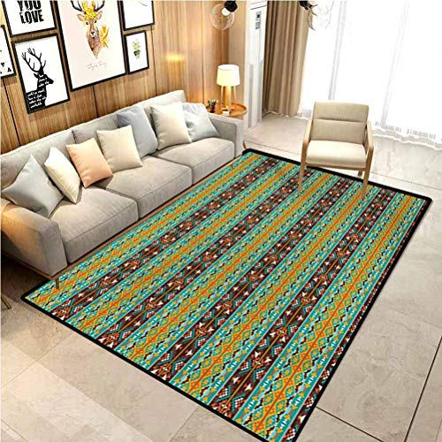 Native American Rugs for Living Room Ultra Soft Modern Area Rug Retro Style Tribal Aztec Motif Pattern with Geometric Details Anti-Skid Nursery Girls Carpets Brown Marigold Turquoise 6 x 8.8 Ft