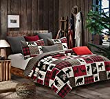 Virah Bella Lodge Life 3 Piece King Quilt Set - 1 Quilt and 2 King Shams with Animal and Buffalo Plaid Pattern