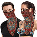 Idjar Antique Kurdish North West PersianFace Mask Scarf Neck Gaiter with Ear Loops UV Dust Protection Reusable Adjustable Breathable Triangle Cloth Face Cover Summer Cooling Bandana Balaclava for Wome